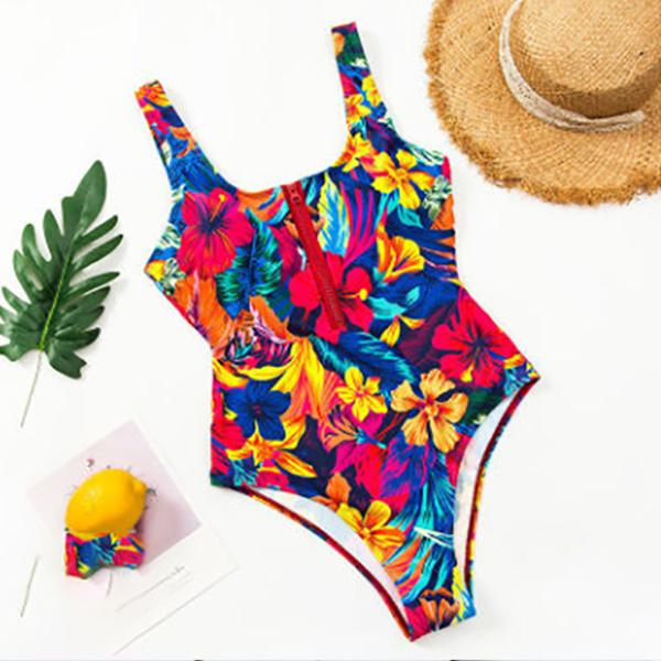 2021 Women's Fishion Swimsuit Womens Bikini One Piece Sexy Swimwear Multicolor Printing Conservative Comfortable Slim Fit