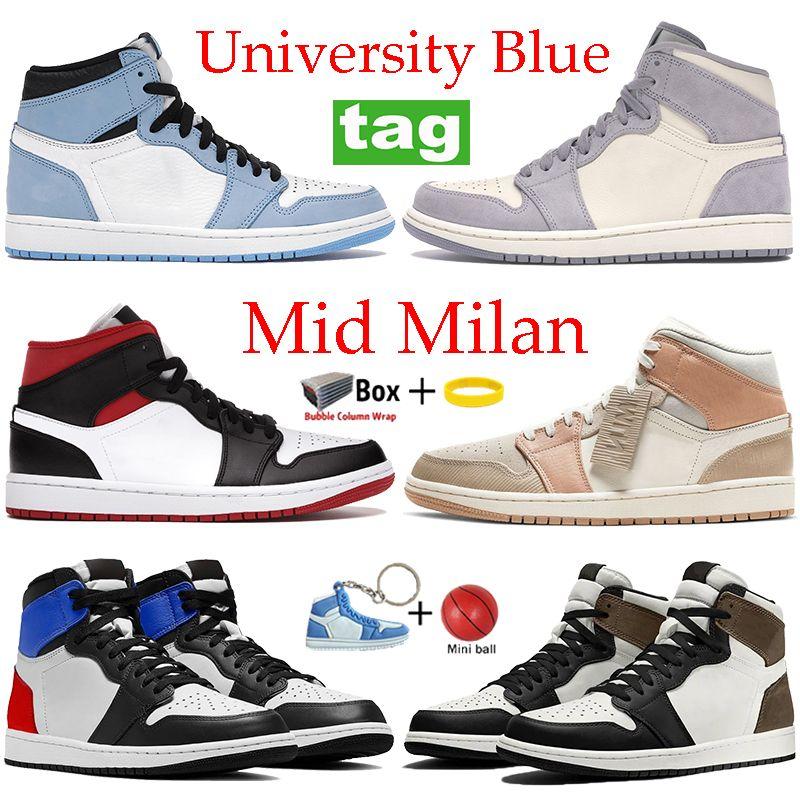2021 الجامعة الأزرق عالية منتصف كرة السلة أحذية شيكاغو الفضة تو الظلام موكا ضوء دخان رمادي رياضة أحمر أسود أبيض أحذية رياضية الرجال النساء المدربين