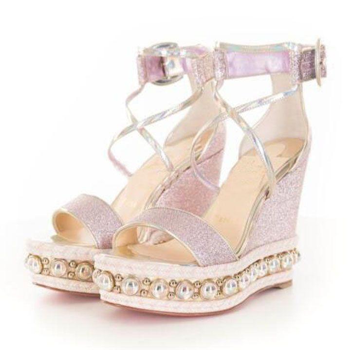 2021 Designer Sandals Luxury Pink Glitter Diams Chocazeppa Brand Women's Sandals Wedge Fashion Red Bottom Wedges Beach Women High Heels Size 35-43