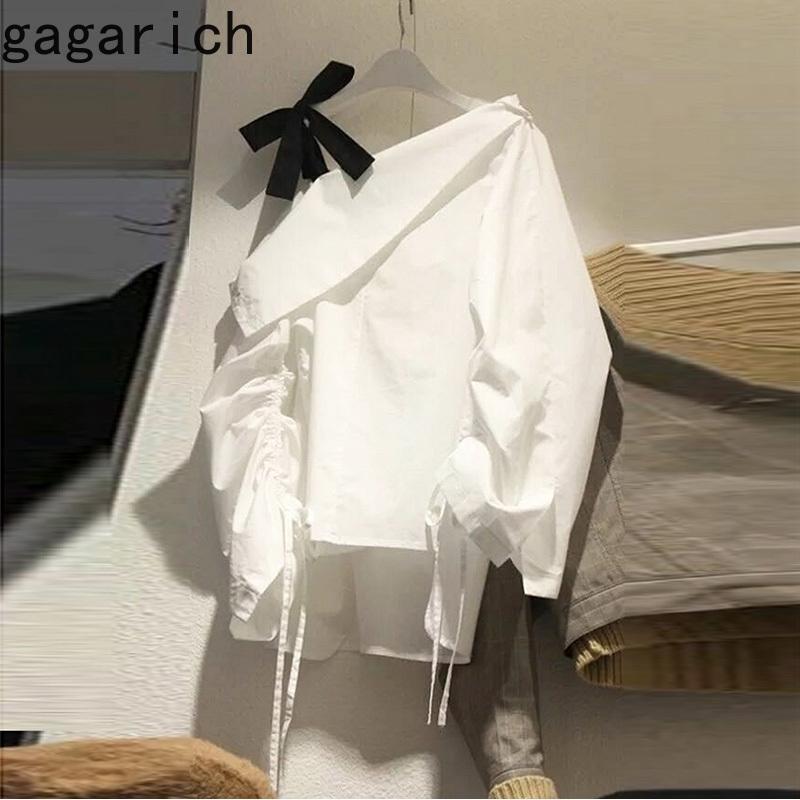 Camisa de mujer primavera otoño japonés dulce temperamento chicas de lazo del hombro pajarito inclinado collar con cordón blusas 210506