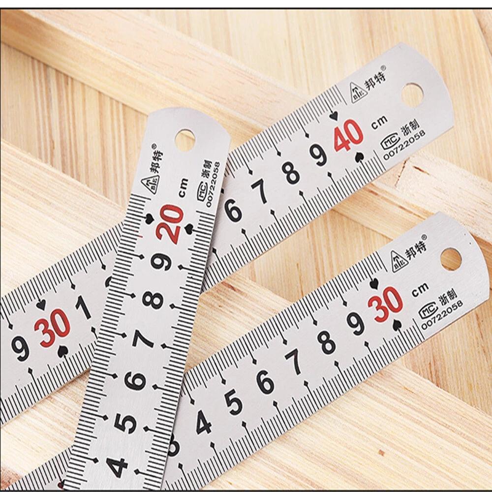 حلقة Sizers 150-1200mm سميكة حاكم الفولاذ المقاوم للصدأ مع موازين ومقاييس النجارة أداة قياس النجارة - 150 x19 × 0.65 ملم