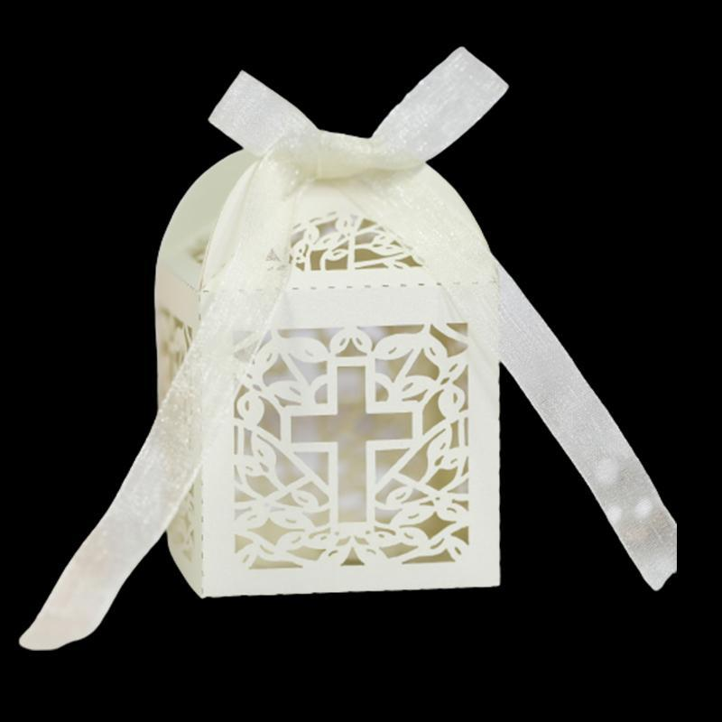 100 ADET Çapraz Lazer Kesim Düğün Iyilik Hediyeler Kutusu Ile Şerit Bebek Ile Hollow Dini Şeker Kutuları Bebek Duş Parti Dekor Hediye Paketi