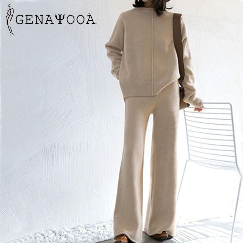 Genayoaa зимний спортивный спортивный костюм 2 шт. Костюмы для женщин вязаные с длинным рукавом два частя набор верхних и брюк женская костюма EUREWARE KOREANT0EK