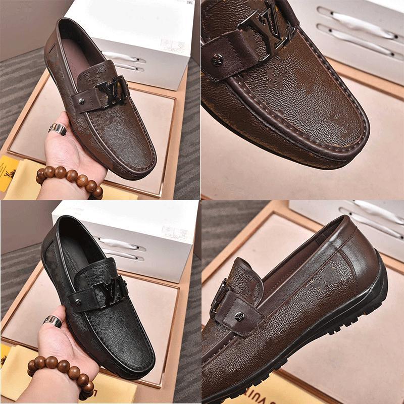 Yüksek Kaliteli Tasarımcı Erkek Elbise Ayakkabı Deri Metal Yapış Bezelye Düğün Ayakkabı Moda Flats Sürüş Sneakers Orijinal Kutusu L9M5 #