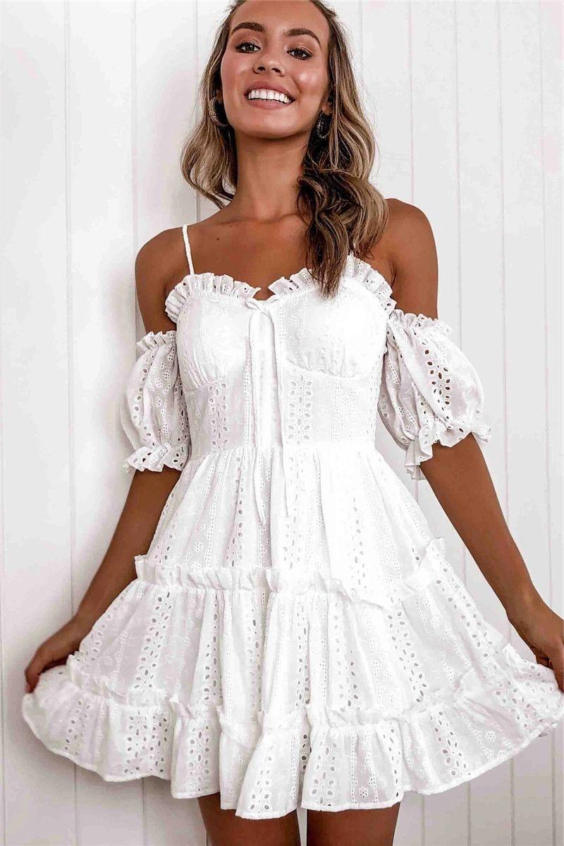 Мода Женщины Сексуальные Летние Пустые Унылые Белые Мини Платье для Случайных Платьев Путешествия YS165