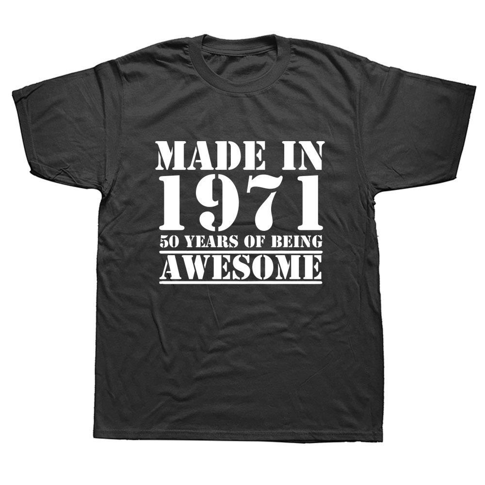 K8 t chemises drôles fabriqués en 1971 Van de 50 ans Van génial 40ème anniversaire Imprimé Joke Homme Aléatoire Bouche courte Chats T-shirts Hommes