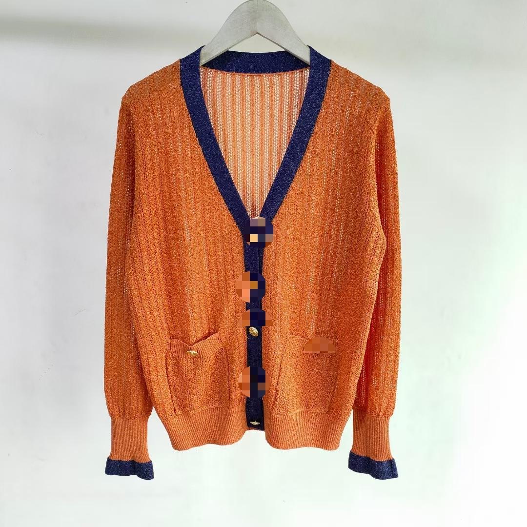 309 2021 Estate Brand Same Style Style Regular Manica Lunga V Collo Kint Maglione Donne Vestiti Donne Lanlan