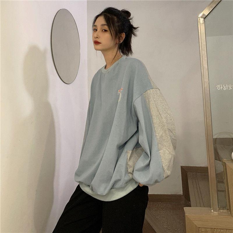 2021 Nuevo jersey delgado para mujer costuras Versión coreana de suelto suelto cuello redondo Tops de manga larga Sudaderas Tops para mujer