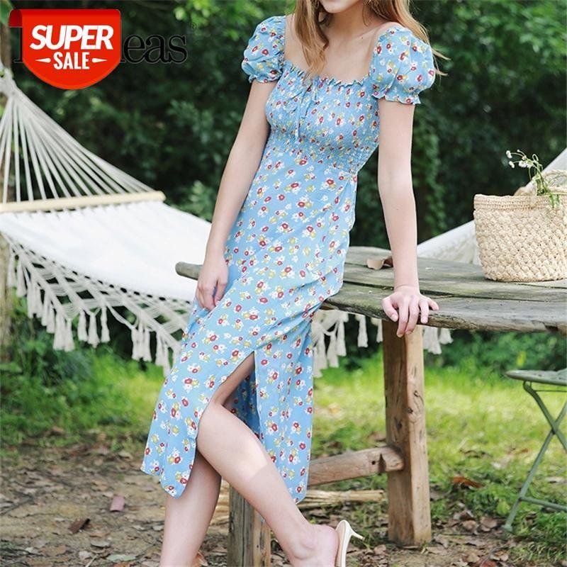 2021 verão vintage chiffon vestido centro de moda arco vestido de verão chique azul floral impressão split mulheres midi vestido gota navio # r22h