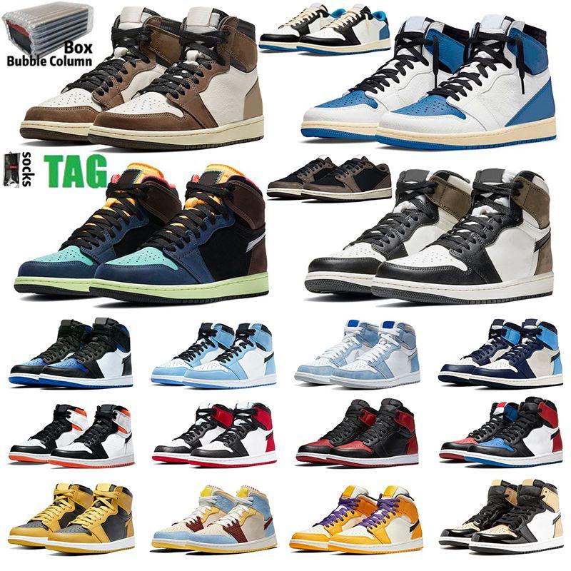 Air jordan x Travis Scott 1 blue shoes Release 1s High OG Hyper Royal Outdoor Shoes Light Smoke Grey White orange Fragment University Blue Trophy Room Varsity Men Women Sneakers