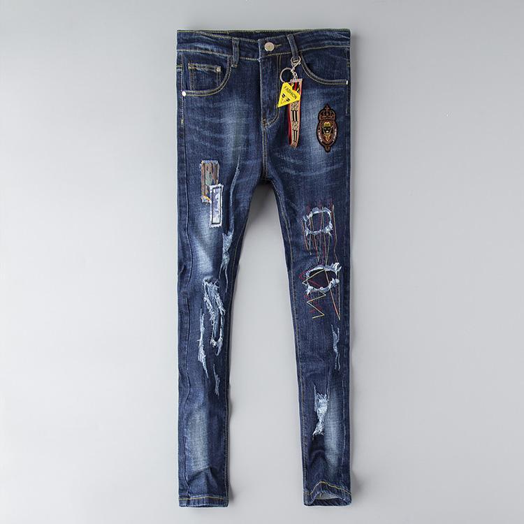 Ff desenhador jeans homens afligidos rasgados rasgados calças magro roupas luxo moto moto moto motociclista hip hop denim homem bordado olho calças