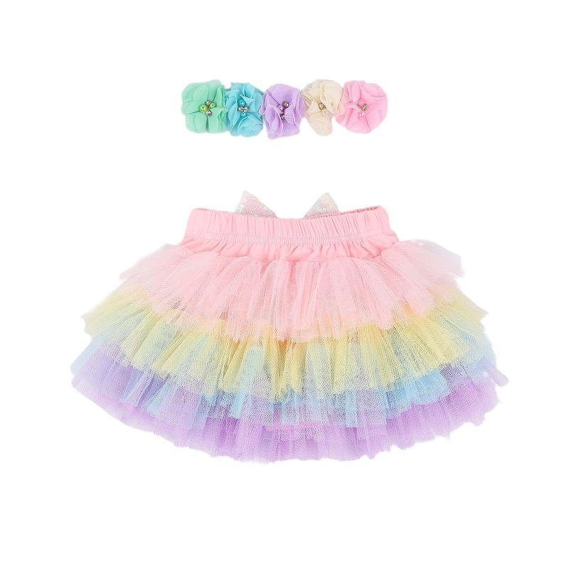 Bebe bebé infantil Colorido Rainbow Tutu Falda Diadema, lentejuelas Bowknot Malla de malla Faldas Flor Headwear Equipo Conjuntos