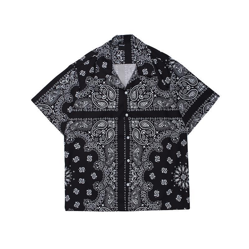 캐슈 프린트 짧은 소매 캐주얼 커플 셔츠 높은 스트리트 옷깃 큰 느슨한 여름 셔츠 하라주쿠 힙합 하라주쿠 꼭대기 남자