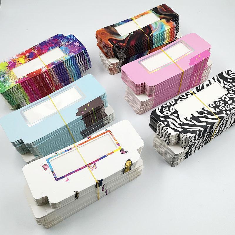 Yanlış Kirpik Toptan 50 adet Kirpik Ambalaj Kutusu Boş Paketi Çok Renkli Kağıt Özelleştirilmiş Flash Makyaj