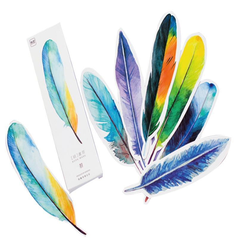 Bookmark 10packs/lot Colorful Feather Birds In Memory Paper For Book Marker Gift School Office Stationery Wholesale