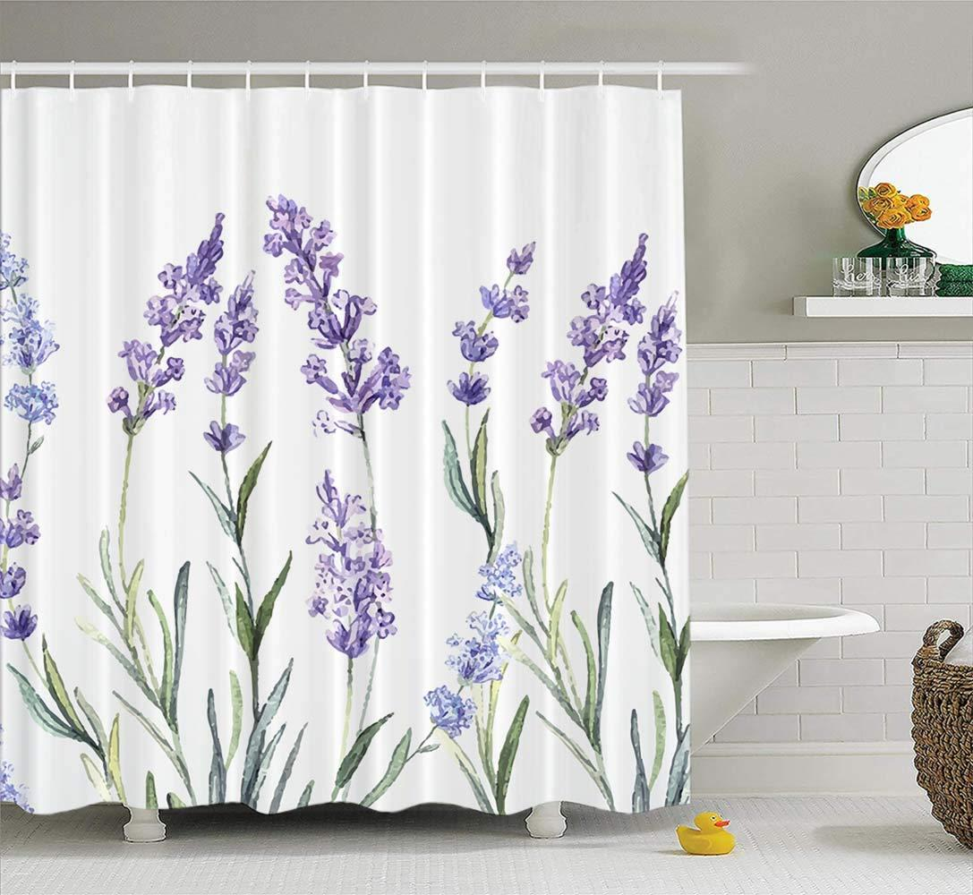 "Cortina de ducha floral colorida acuarela de la acuarela de lavanda cortina a prueba de ducha a prueba de agua 72 ""x84"" impermeable"