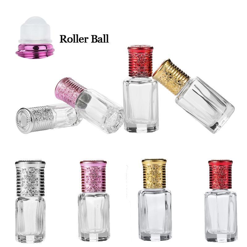 3 ملليلتر البسيطة زجاجة الزجاج فارغة الضروري النفط الأسطوانة الكرة إعادة الملء الحاويات مستحضرات التجميل غسول صغير عينة الحاجب أدوات الإستنسل