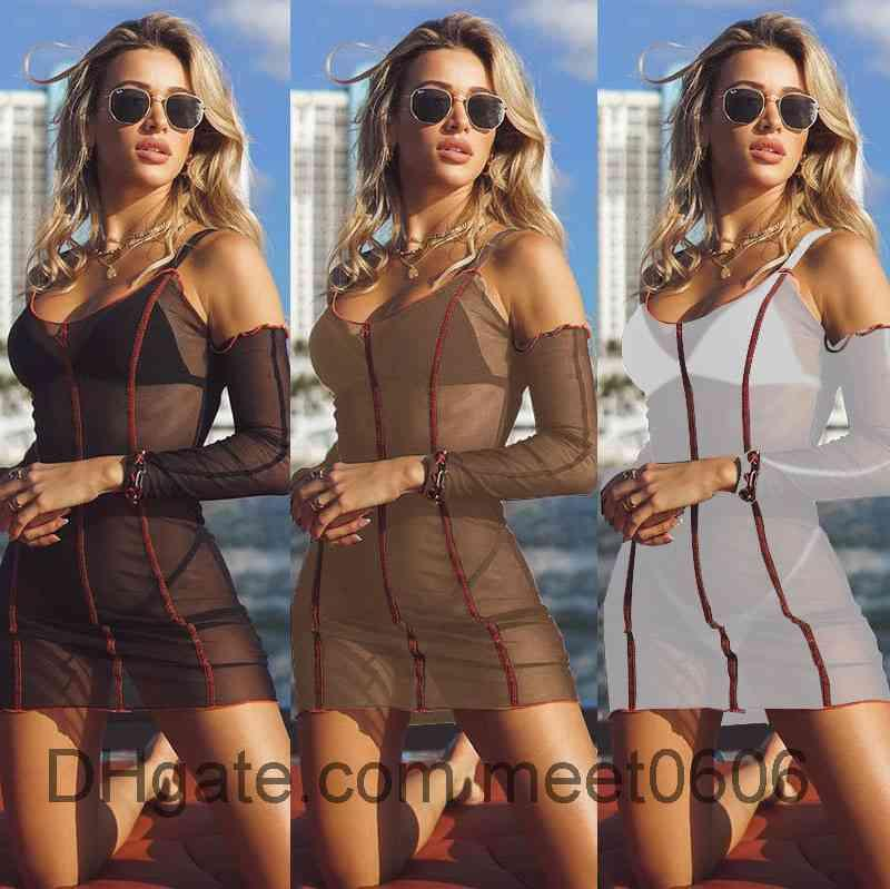 Women Casual Dresses 2021 summer new Designer Fashion women's U neck large holiday long sleeve Tight Sexy perspective screen dress Slim clothing meet0606