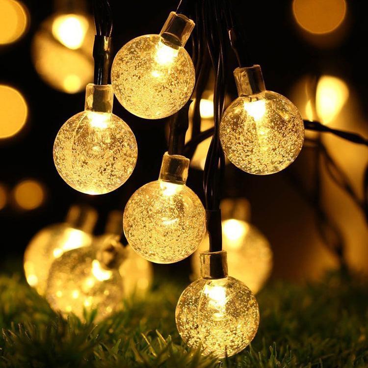 25 ملليمتر الصمام سلسلة الشمسية ضوء جارلاند الديكور 8 نماذج 20 رؤساء الكريستال المصابيح فقاعة الكرة مصباح للماء للحديقة عيد الميلاد حزب