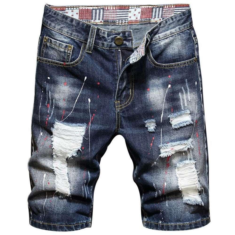 2021 Vêtements d'été Trend Hommes Mode Droit Denim Shorts Classic Pockets Torn Trou Peinture Print Jeunes Coton Shorts