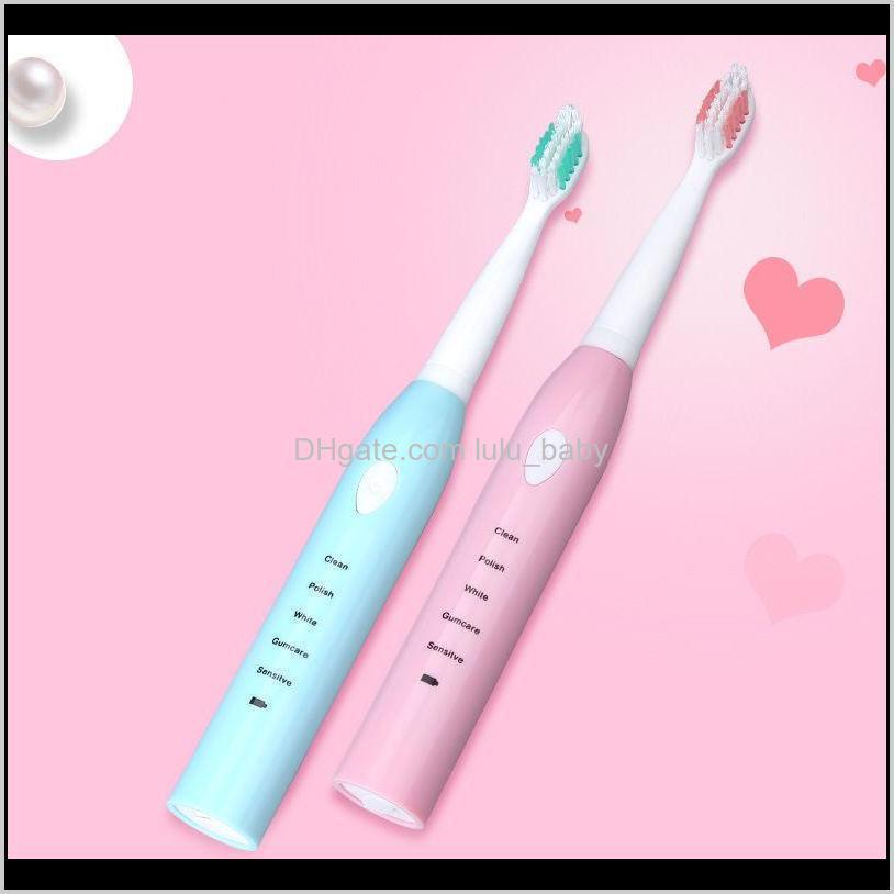 Spazzolino da denti elettrico con 4 teste di spazzole di ricambio 5 modalità IPX7 Impermeabile Sonic Denti Denti Orali Spazzola per igiene orale rosa blu 84ukh J9RTL