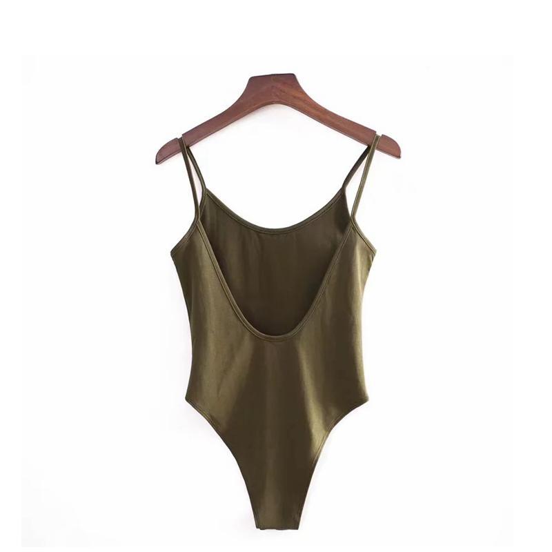 Sexy Backless Fit Strampler Körper Bodysuit Frauen Slim Spaghetti Strap Skinny Tight Playsuits Streetwear Untershirt 210427