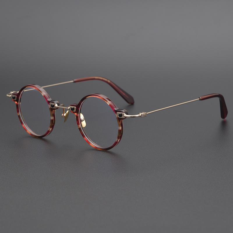 Ultra-mini Gold Beam Design Giappone Handmade retrò rotondo telaio tesoro piatto myopia spettacolo uomini e donne occhiali occhiali moda occhiali da sole fr