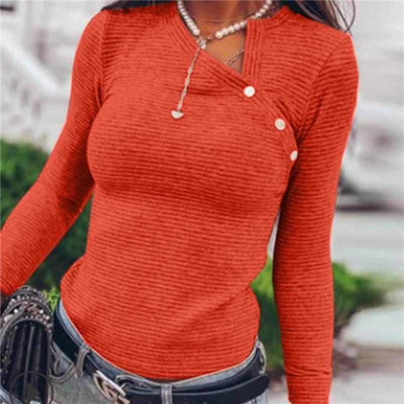 Skew Collar Autumn T Shirt For Women Casual Long Sleeve Simple Fall Shirts Streetwear Slim Female Women's T-Shirt