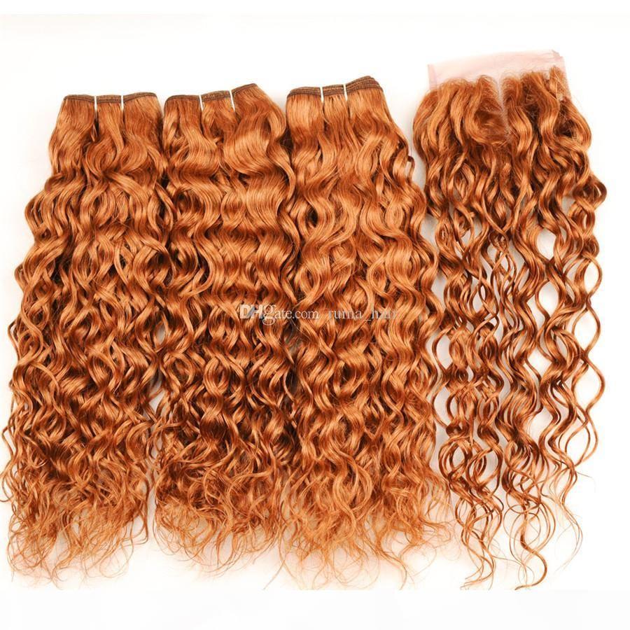 Brown loira 3 pacotes com fecho onda de água brasileira encaracolado remy cabelo humano weave # 30 Auburn 4 * 4 laço fechos 4 pcs lote