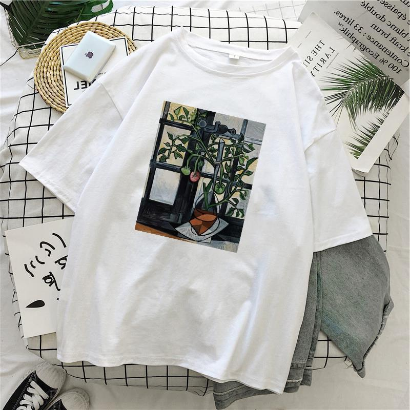 Mode MS. Gustav Klimt T-shirt Femme Imprimé Summer Ulzzang Harajuku Modèle Art Print Peinture à l'huile O Cou Vintage