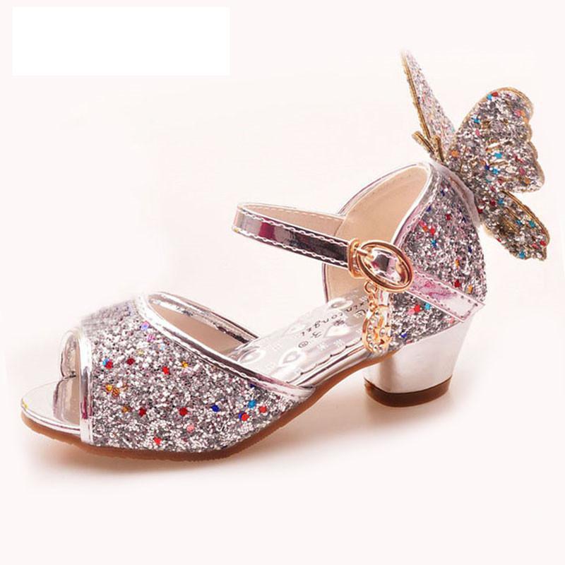 بنات الصنادل حجر الراين فراشة الوردي أحذية الرقص اللاتينية 5-13 سنة 6 أطفال 7 الصيف عالية الكعب الأميرة الاطفال