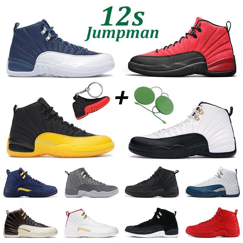Chaussures de basket-ball 12S Jumpman 12 Hommes Femmes Dark Concord Game Jeux Universique Gold Indigo Playoff Gym Gym Sportif Sports Sporteurs Sports Sporteurs Taille 7-13