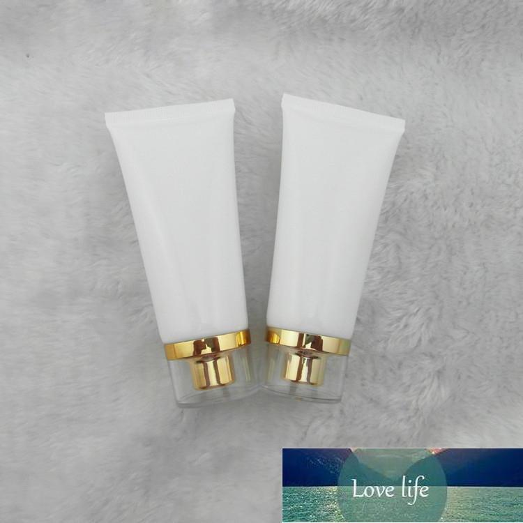 50 ml 50 lot beyaz pe plastik hortum / altın akrilik vida kap / krem emülsiyon losyonu tüp ambalaj boş şişeler