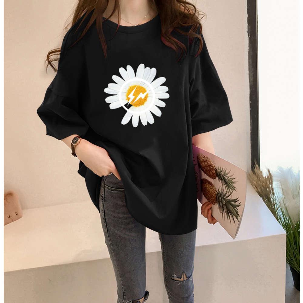 T-shirts T-shirt Daisy Short Femme Eté mi-longue T-shirt Mode coréen Mode en vrac