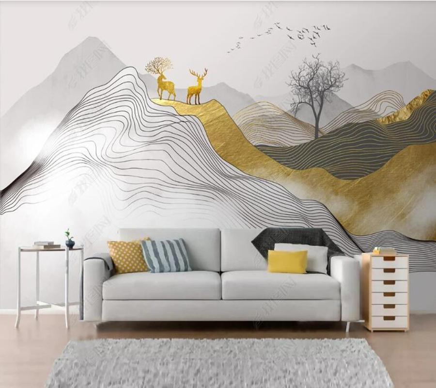 Wallpapers Papel De Parede Chinese Style Abstract Ink Landscape Elk 3d Wallpaper Mural,living Room Tv Wall Bedroom Papers Home Decor