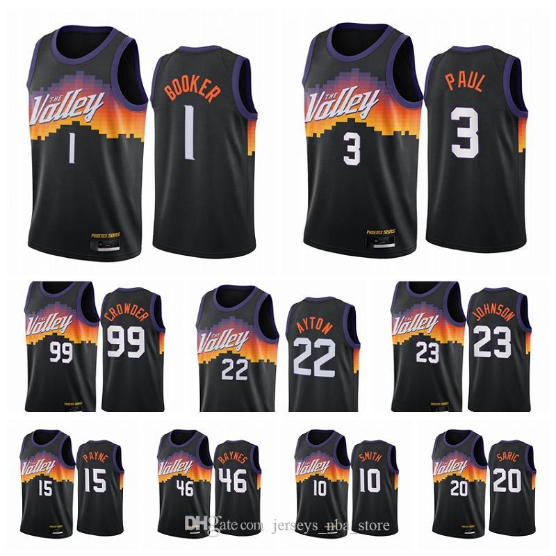 PhönixSonnen?Männer Devin 1 Bucher Chris Paul Deandre Ayton Jae Crowder 2020-21 Black City Basketball Jersey Neue Uniform