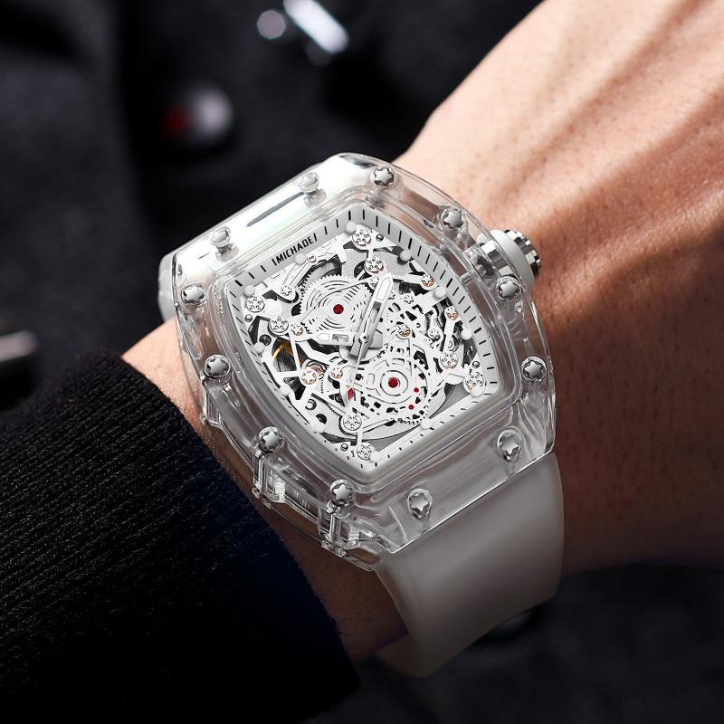 Armbanduhren Kimsdun Marke Transparente Männer Mechanische Uhr Luxus Sport RM Stil Automatische Hohlmode Uhren Tropfen