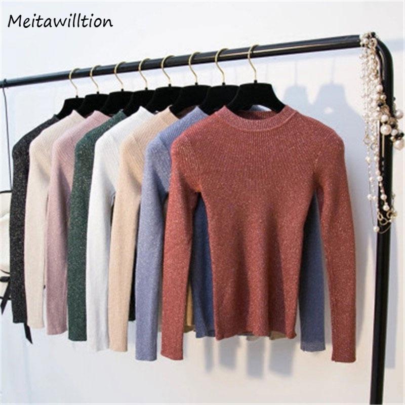 Frauenpullover Herbst Winter Gestrickte Frauen Langarm Solide Slim Casual Pullover 2021 Koreanische Basisbüro Pullovers Tops