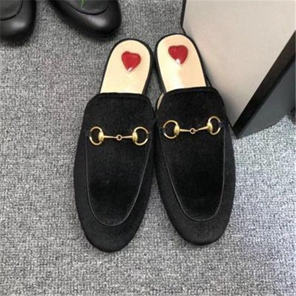 الرجال النساء النعال الناعمة البقر كسول النساء الأحذية الجلدية معدنية مشبك شاطئ النعال البغال princetown كلاسيكي سيدة النعال كبيرة EUR 34-45 M6ZV #
