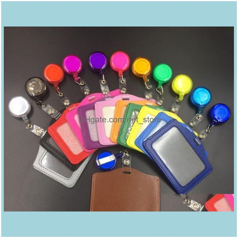 Wallets Bags, Lage & Aessories10.5*8Cm Square Credit Card Without Zipper Bus Id Holders Identity Red Yellow Blue Badge With Retractable Reel