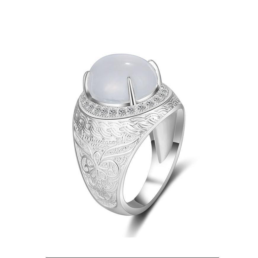 S925 Sterling Color Blanco Perla Anillo para Mujeres Fine Anillos Mujer Silver 925 Jewelry Bizuteria Piedras preciosas Anillos