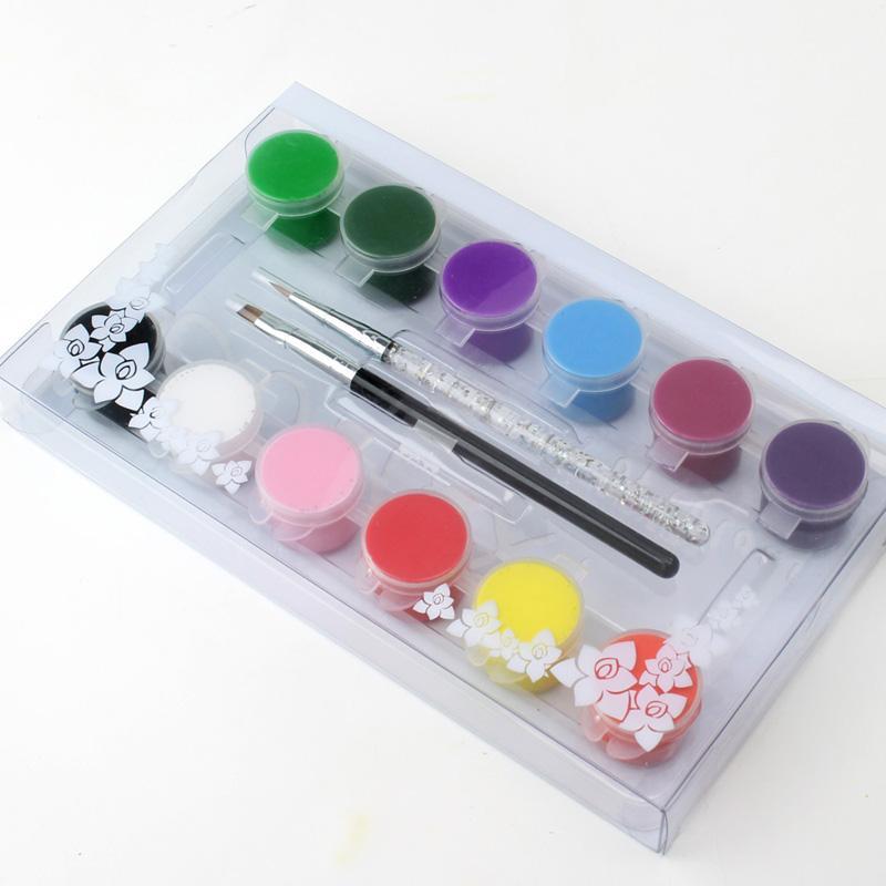 Nail Art 3D Drawing Paints 12 Color 2 Brush pen Set ACRYLIC PAINT TUBE Kit For Tips Painting MANICURE DrawTOOL