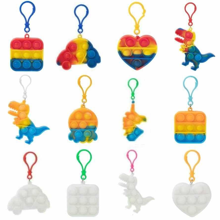 100PCS / DHL push toy simple dimple key ring Fidget keychain children adult novel squeeze bubble puzzle finger fun game gadget relieve stress CJ09