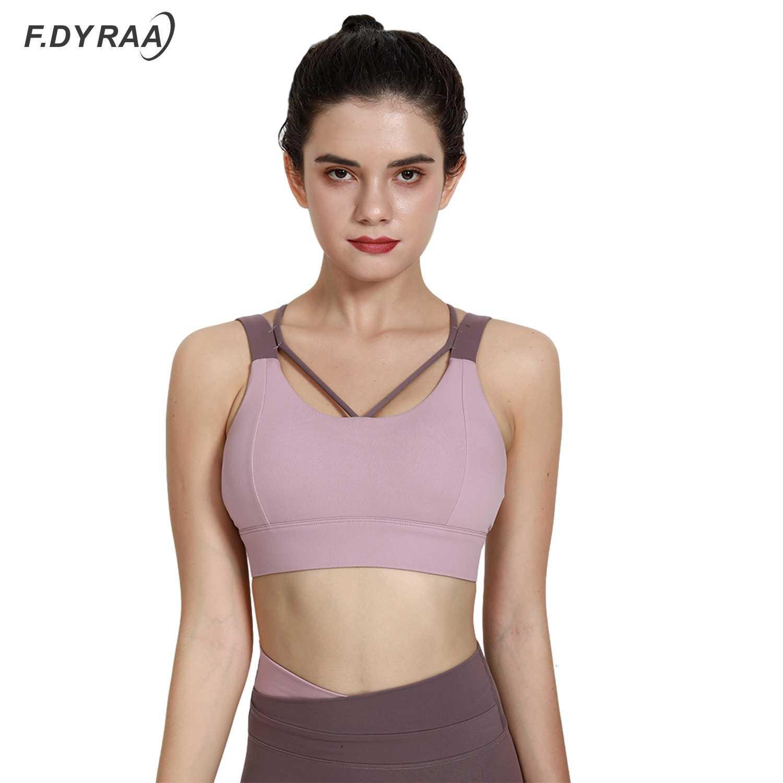F.Dyraa High Impact Strappy Strappy Workout BRA SEXY CUT OUT OUT YOGA TOP TOPTWEAR Vêtements de sport rembourrés pour femmes Gym