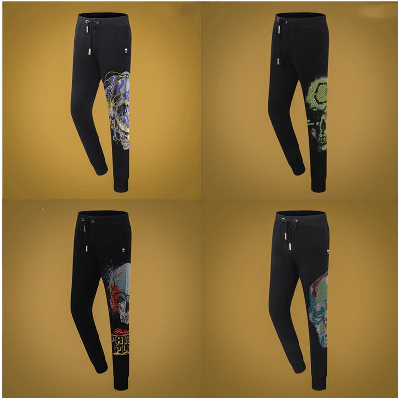 Мужские брюки Slim-Fit Череп горячий буровой медведь Печать повседневные моды Высококачественные брюки 0102