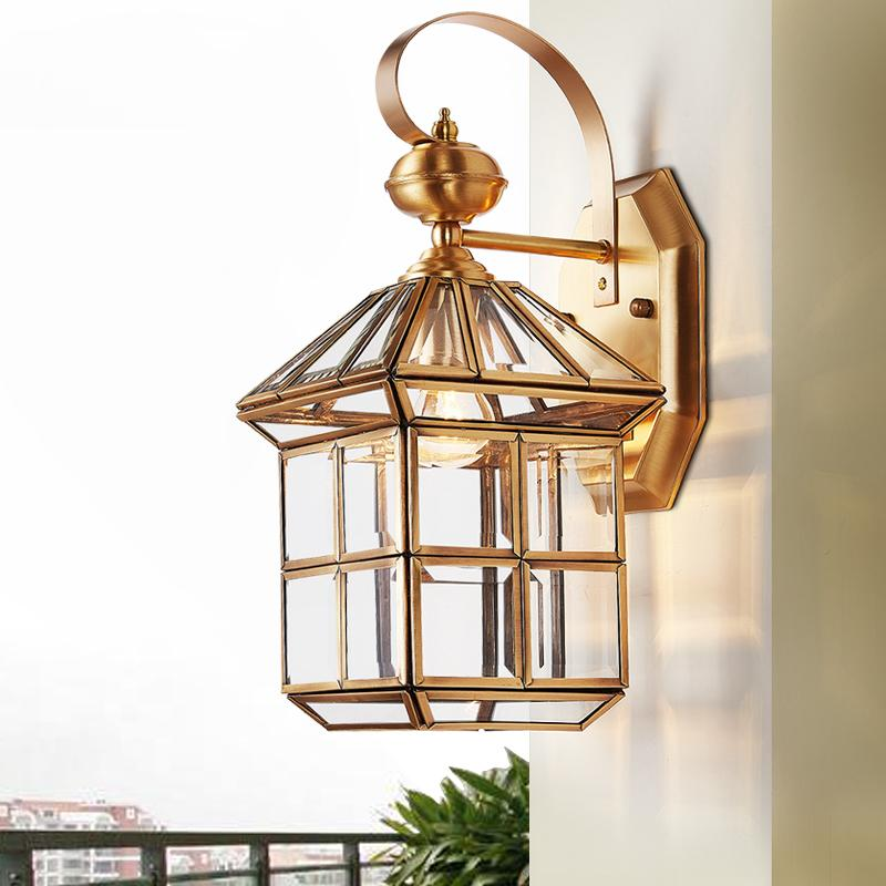 Wall lamp Copper outdoor Garden Lantern Sconce E27 Waterproof light Exterior Fixture lampu dinding antik Glass Shadelighting