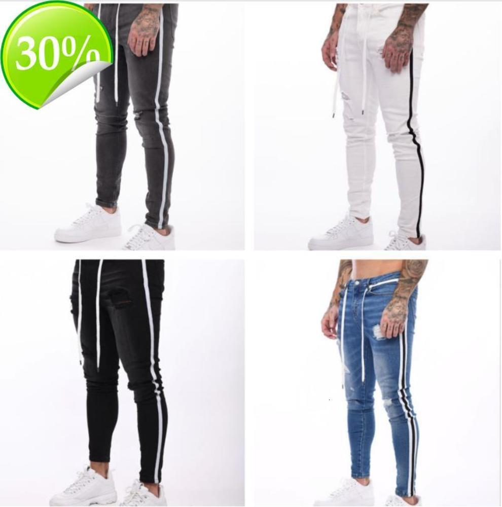 Mens New Ripped Jeans Spring Autumn Fashion Street Striped Pencil Pants Fashion Jean CREL