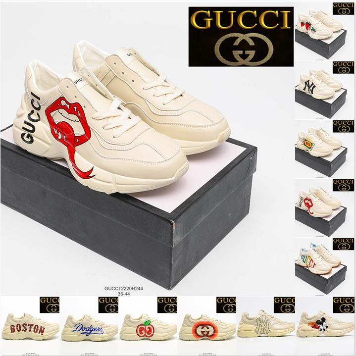 Gucci Rhyton Vintage Trainer Sneaker Scarpe Casual Casual Leather Strawberry Lip Apple Green Red Stripe Luxurys Runner Traineri Designer Scarpa Designer