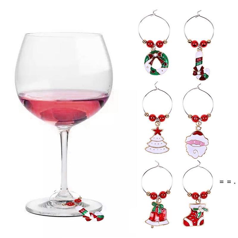 크리스마스 와인 유리 장식 반지 6pcs / lot Goblet 장식 반지 펜던트 크리스마스 카니발 분위기 장식 무료 DHL OWF5716