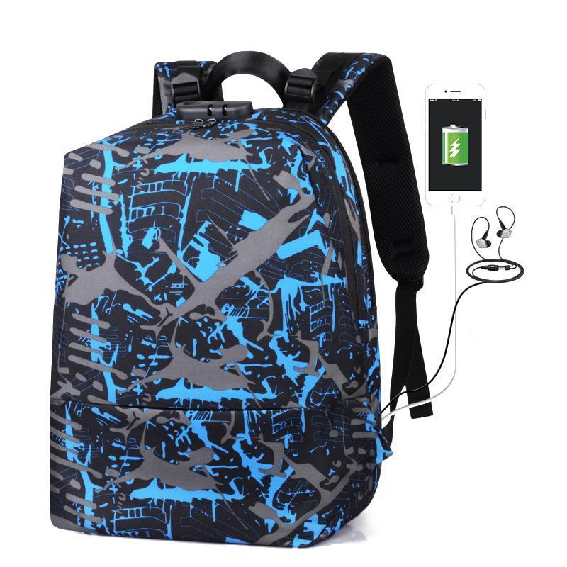 Backpack Teenager Boy Oxford Men Bag Anti-theft Man School Black Color USB Charging Daily Shoulder Daypack